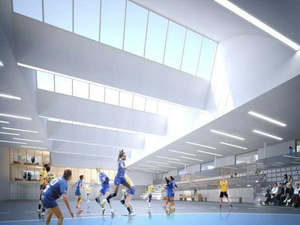 Maison du Handball à Créteil (Val-de-Marne) conçue Charles Delamy architecte mandataire, Semon Rapaport et Associés, architectes associés